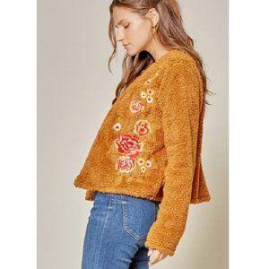 NWT Embroidered Boho Style Faux Fur Jacket